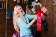 Коробка рождества, пуловер бирюзы, потеха Стоковые Изображения RF