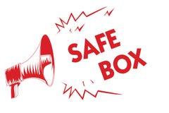 Коробка сейфа текста почерка Концепция знача структуру a малую где вы можете держать loudspe мегафона важных или ценных вещей кра иллюстрация вектора