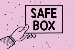 Коробка сейфа текста сочинительства слова Концепция дела для структуры a малой где вы можете держать важной или ценные вещи укомп бесплатная иллюстрация