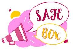 Коробка сейфа текста сочинительства слова Концепция дела для структуры a малой где вы можете держать важные или ценные louds мега иллюстрация вектора