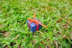 Коробка сини присутствующая с красной лентой Стоковое Изображение RF