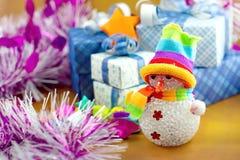 Коробка снеговика и подарка Стоковое Изображение RF