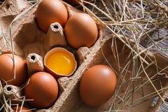 Коробка яичек Брайна еда предпосылки здоровая Желтый желток Стоковые Фотографии RF