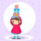 Коробка девушки и подарка Стоковые Изображения