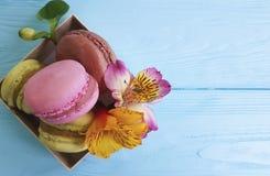 Коробка macaron цветка Alstroemeria на деревянном десерта голубое печет стоковые изображения rf