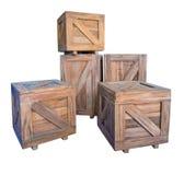Коробки деревянных клетей изолированные на белизне Стоковая Фотография RF