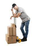 Коробки и пакеты ручной тележки курьера Стоковая Фотография RF