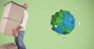 Коробки нося работника доставляющего покупки на дом низкой поли землей Стоковое Изображение