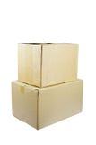 2 коробки от картона на белой предпосылке Стоковые Фотографии RF