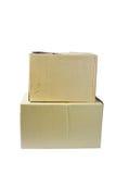 2 коробки от картона на белой предпосылке Стоковое Изображение