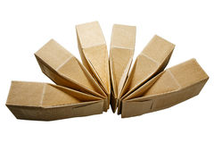 Коробки от goffered изолированного картона Стоковое Фото