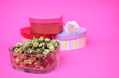 Коробки попкорна и сердца Стоковые Фото