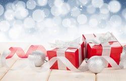 Коробки подарка рождества и декор Стоковое Изображение