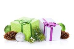 Коробки подарка рождества и декор Стоковые Изображения