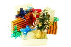 Коробки подарка цвета Нового Года. Стоковые Фотографии RF