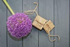2 коробки подарков и большого цветка Стоковая Фотография