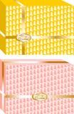 Коробки подарков рождества простые и элегантные, украшенный с деревьями и лентой вокруг, желтое и розовое ing1 Стоковое фото RF