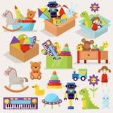 Коробки ребенк забавляются контейнер подарка детства игры шаржа блоков вектора заполненный иллюстрацией милый графический иллюстрация вектора