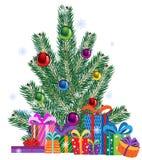 Коробки рождественской елки и подарка Стоковое Фото