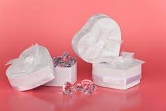 Коробки сердца форменные с диамантами Стоковые Изображения