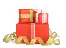 коробки смычков украсили праздник подарка Стоковое Фото