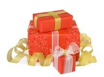 коробки смычков украсили праздник подарка Стоковая Фотография