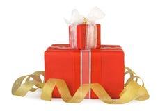 коробки смычков украсили праздник подарка Стоковые Фото