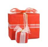 коробки смычков украсили тесемки праздника подарка Стоковые Фотографии RF