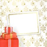 коробки смычков украсили тесемки праздника подарка Стоковое Изображение RF