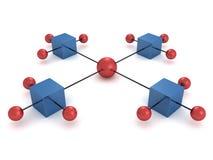 коробки составляют схему цветастым сферам иерархии Стоковое фото RF