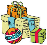 Коробки с подарками и шариком Стоковые Изображения