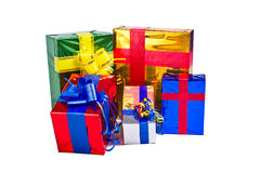 Коробки с подарками на белой предпосылке Стоковое Изображение RF