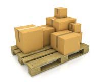 коробки carton различным стог определенный размер паллетом Стоковое фото RF