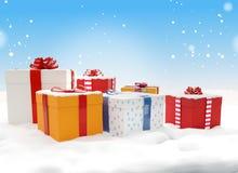 Коробки 3d-illustration подарков на рождество подарков рождества Стоковая Фотография