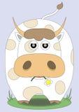 Милая корова с цветком в ее рте Стоковые Фото