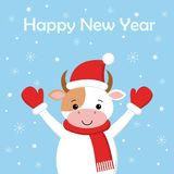Корова веселого рождества смешная в шляпе Санта на снеге предпосылки Карта в стиле мультфильма иллюстрация вектора