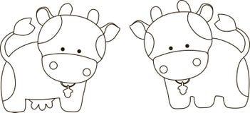 Корова и бык шаржа Стоковая Фотография