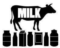Корова и молоко силуэта Стоковое Изображение RF