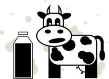 Корова и молоко Стоковое Изображение
