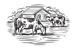Корова и ферма иллюстрация вектора