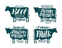 Корова, комплект ярлыка Молоко, говядина, молочные продучты, мясо, значок фермы или логотип Литерность, иллюстрация вектора калли иллюстрация штока