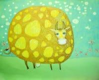 Корова младенца смешной запятнанная иллюстрацией Стоковое Изображение RF