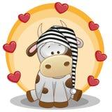 Корова с сердцами иллюстрация вектора