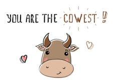 Корова эскиза милая Иллюстрация на день валентинок Святого Стоковое Изображение
