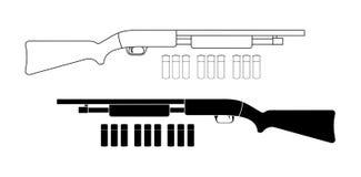 Корокоствольное оружие с пулями контур черный иллюстрация штока