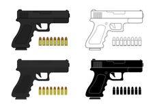 Корокоствольное оружие с пулями Ресурсы игры Стоковое Изображение RF