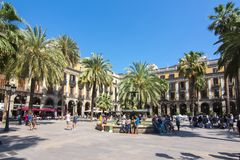 Королевская квадратная площадь реальная в Барселоне, Испании Стоковая Фотография RF