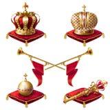 Королевские золотые кроны, фанфары, скипетр и шар Стоковое Изображение RF