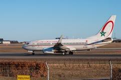 Королевский самолет Maroc Боинга 737 воздуха в авиапорте Копенгагена стоковое фото