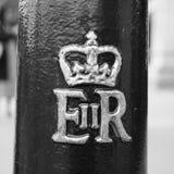 Королевский cypher ферзя в Лондоне черно-белом Стоковые Изображения